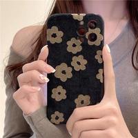 Brown flower black iphone case