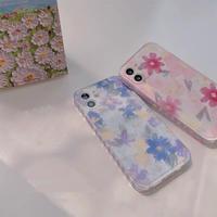 Purple pink flower heart side iphone case