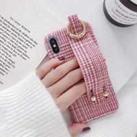 Pink check strap iphone case