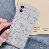 Blue bear clear grip iphone case