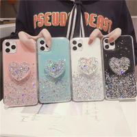 Heart grip glitter iphone case