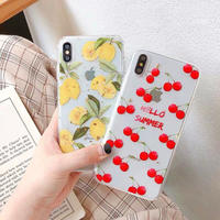 Lemon cherry  glitter clear iphone case