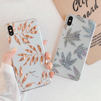 Silver gold leaves iphone case