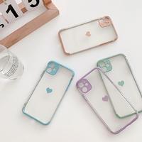Heart purple orange green skyblue color side iphone case