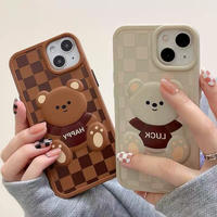 Bear check ivory brown iphone case