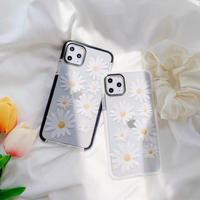 Daisy white black side iphone case