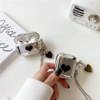 Black heart  silver airpods case