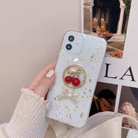 Cherry ribbon glitter iphone case