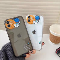 Moon with astronaut clear iphone case