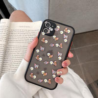 Mouse cat daisy black side iphone case