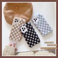 Autumn color check fur iphone case