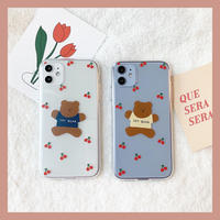 Jumping cherry bear clear case