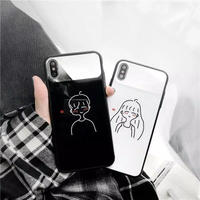 Boy girl white black mirror iphone case