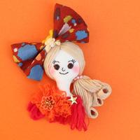 Face Brooch/Colorful polka dot ribbon