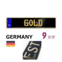 ドイツナンバー黒/メタリックゴールド