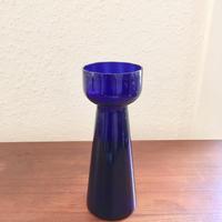 北欧ヴィンテージ雑貨/ハンドメイド/吹きガラス/ヒヤシンス花瓶/コバルトブルー