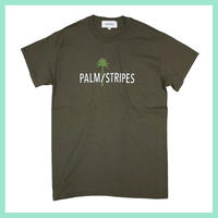 【 SAMPLE  SALE 】PALM/STRIPES  LOGO  TEE2  #olive