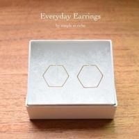 シンプル、フープイヤリング(六角形/ゴールド)【E16-311G】