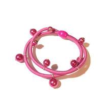 パール付き ヘアゴム◆ピンク×ピンク