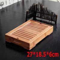 ホット販売高品質竹茶トレイ木製茶セットカンフーツール用カップティーポット工芸トレイ27*18.5*6センチ送料無料