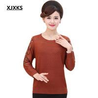 Xjxks 2018女性の秋のセーター透かし袖カシミヤプルオーバー緩いプラスサイズ純粋な色シャツトップセーター用女性