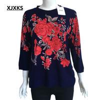 Xjxks女性のプリント薄いニットセーター春秋プルオーバーラウンドネック膝スリーブ女性シャツトップス