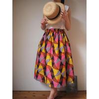 Petite africaine  アフリカンプリントギャザースカート75cm
