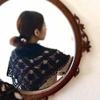猫たちスカーフ キット  糸と編み図( Cascade版) 縁編み付き