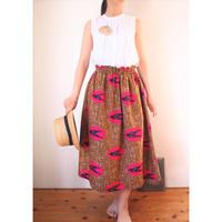 Petite africaine  アフリカンプリントギャザースカート80cm