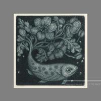 林 明日美作品 「花束をあげるー宙の魚ー」版画作品