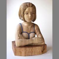 浅野井 春奈 作品 「白と青」木彫作品