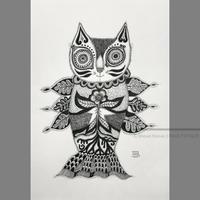しょうじこずえ作品 「いのちを愛す仔猫姫」ペン画作品