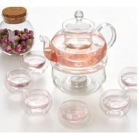 600ML 耐熱ガラス茶セット/ケトル 茶会