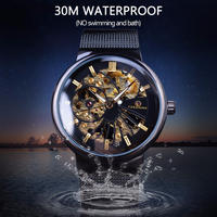 FORSINING 高級薄型ケース ユニセックスデザイン 防水 高級機械式スケルトン腕時計