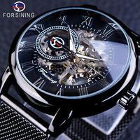 FORSINING レトロファッション ブラックスケルトン スポーツ時計 機械式 大人気の高級時計