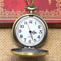 アンティーク調 ユニセックス 懐中時計 チェーンネックレス付き ポケットウォッチ