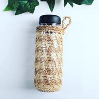 麻紐のボトルカバー(茶ボーダー)