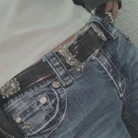 FAJ1339 vintage concho leather belt
