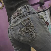 FAJ0961 vintage Miss Me denim flare pants
