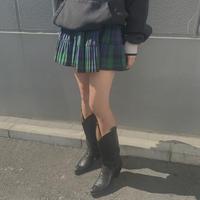 FAJ1207 vintage check mini skirt