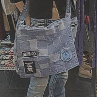 FAJ1327 vintage patchwork denim shoulder bag