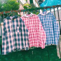 PA30705 フード付シャドーチェックシャツ