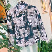 JOP1701035 モノクロ総柄シャツジャケット
