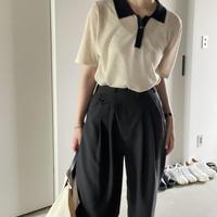 6月初旬~中旬入荷分    Linen-blend 襟切替ポロシャツ