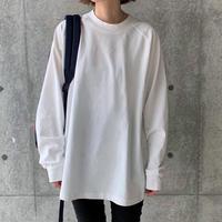 ラグランスリーブ cottonロング丈カットソー(CASS2_1_WT/BK)