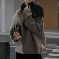 wool混バイカラーニット