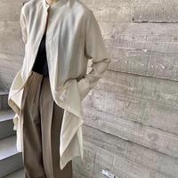 No-Collar Satin Long Blouse (3Color)