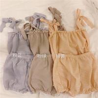 新しいデザイン 韓国風 パジャマ 女 夏 かわいい スウィート グリッド キャミソール