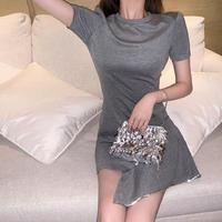 夏 新しいデザイン 韓国風 味 気質 着やせ 法 タイプ アンティーク調 スカート 裾