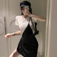 女性服 ファッション 個性 不規則な ハーネスドレス シンプル 単一色 何でも似合う 半